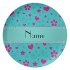 Personalised name turquoise pink flowers hearts plate