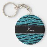 Personalised name turquoise zebra stripes basic round button key ring