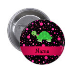 Personalised name turtle pink polka dots 6 cm round badge