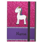 Personalised name unicorn pink glitter cover for iPad air