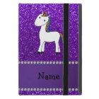 Personalised name unicorn purple glitter iPad mini cover