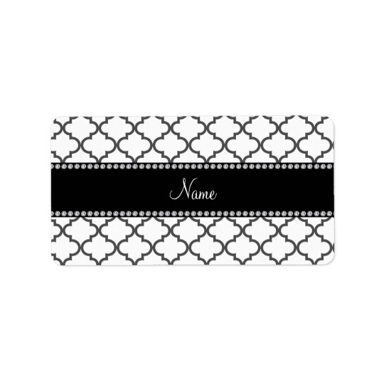 Personalised name White moroccan Address Label
