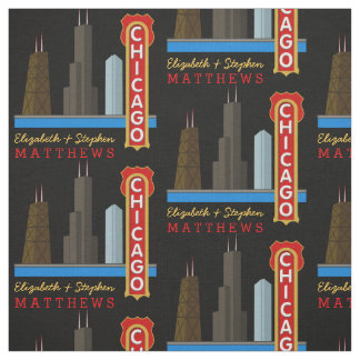 Personalised Names Chicago Illinois Skyline Fabric