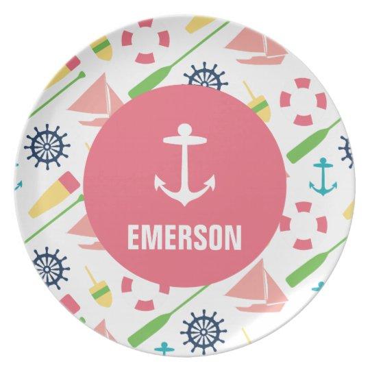 Personalised Nautical Kids Anchor Melamine Girl Plate
