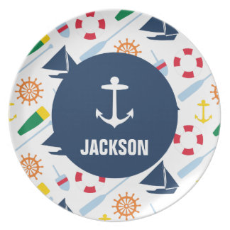 Personalised Nautical Kids Anchor Melamine Party Plates