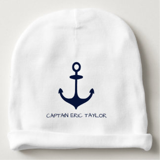 Personalised Navy Blue Nautical Anchor and Rudder Baby Beanie