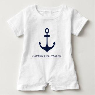 Personalised Navy Blue Nautical Anchor Baby Bodysuit