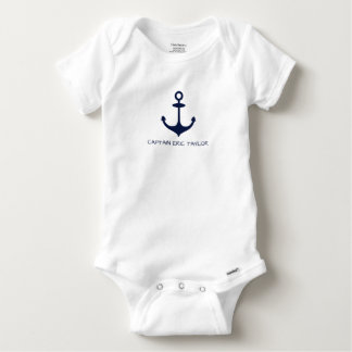 Personalised Navy Blue Nautical Anchor Baby Onesie