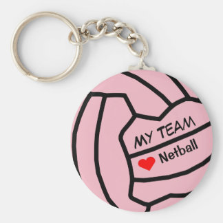 Personalised Netball Ball Design Keyring Basic Round Button Key Ring