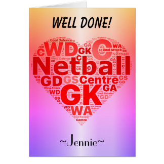 Personalised Netball Positions Heart Design Card