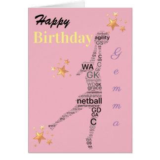 Personalised Netball Theme Birthday Card