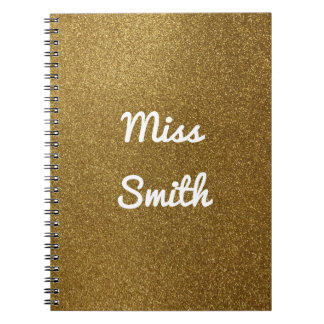 Personalised Notebook Any Name Gold Glitter