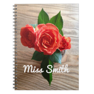 Personalised Notebook Any Name Orange Roses