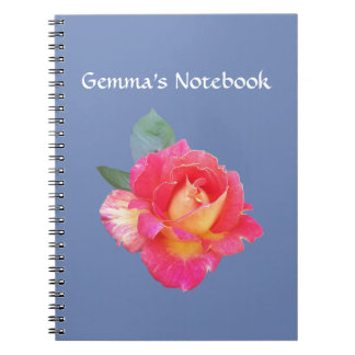Personalised Notebook with Rose on Blue Background
