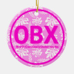 Personalised OBX Outer Banks Pink Floral Ornament