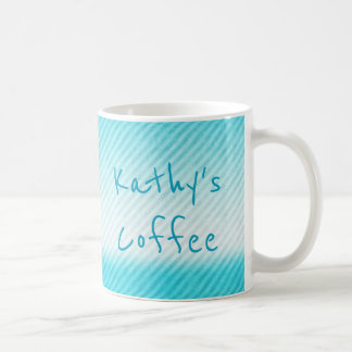 Personalised Ombre Teal Stripe Coffee Mug