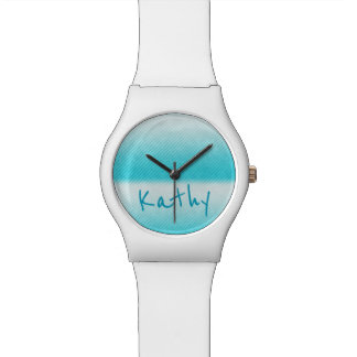 Personalised Ombre Teal Stripe Wrist Watch