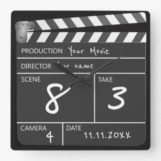 Personalised One of a Kind Movie Clapperboard Square Wall Clock