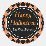 Personalised Orange Black Happy Halloween Stickers