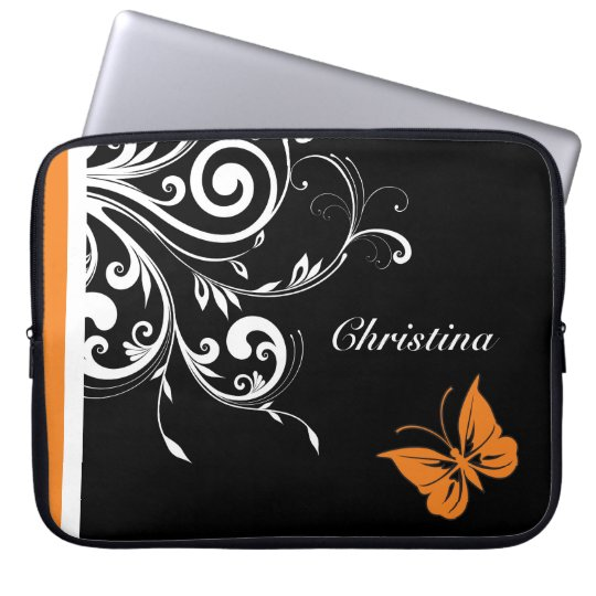 Personalised Orange Black White Butterfly Flourish Laptop Sleeve