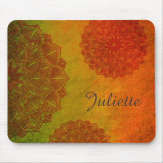 Personalised Orange Mandala Mouse Pad