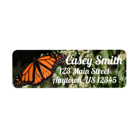 Personalised Orange Monarch Butterfly Nature Photo Return Address Label
