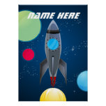 Personalised Outer Space Rocket Ship Poster
