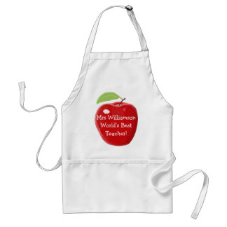 Personalised Painted Apple For Worlds Best Teacher Standard Apron