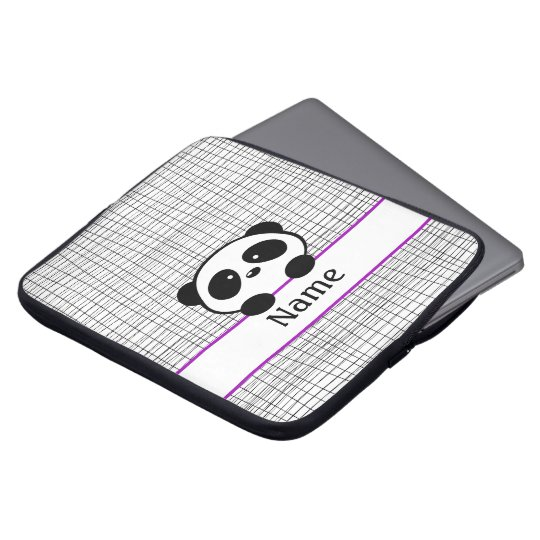 Personalised Panda Purple Laptop Sleeve - 15 inch