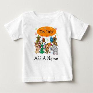 Personalised Party Animals 2nd Birthday Tshirt