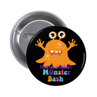 Personalised Party Badge - Orange Monster Buttons