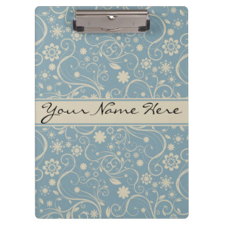 Personalised Pastel Blue and Taupe Floral Pattern Clipboard