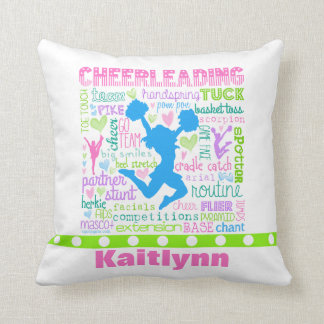 Personalised Pastel Cheerleading Words Typography Throw Pillow