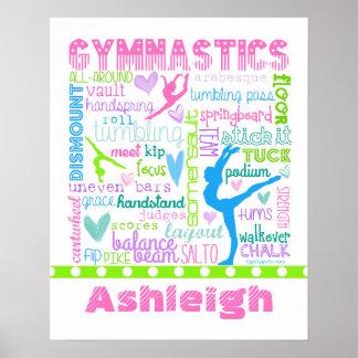 Personalised Pastel Gymnastics Words Typography Poster