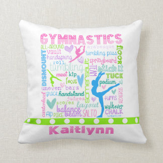Personalised Pastel Gymnastics Words Typography Throw Pillow