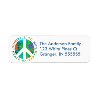 Personalised Peace on Earth Address Labels