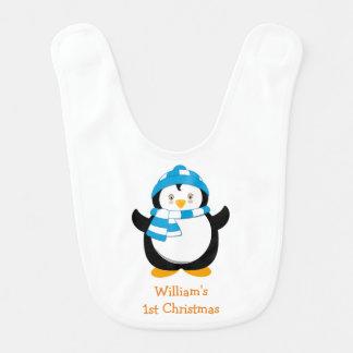 Personalised Penguin Bib, Baby's 1st Christmas Bib