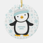 Personalised Penguin Snowflake Christmas Ornament