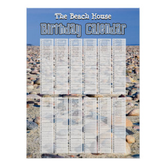 Personalised Perpetual Beach Birthday Calendar Poster
