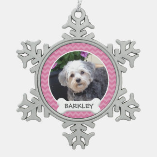 Personalised Pet Photo with Dog Bone Snowflake Pewter Christmas Ornament
