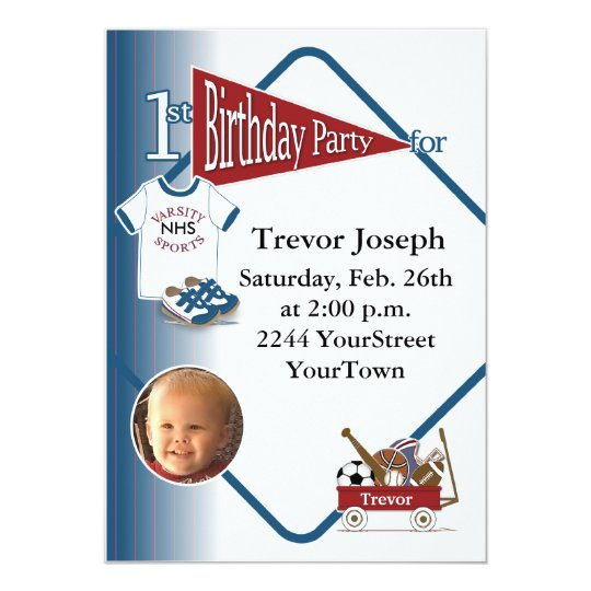 Personalised Photo 1st Birthday Invitation