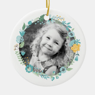 Personalised Photo Delicate Floral Wreath Ceramic Ornament