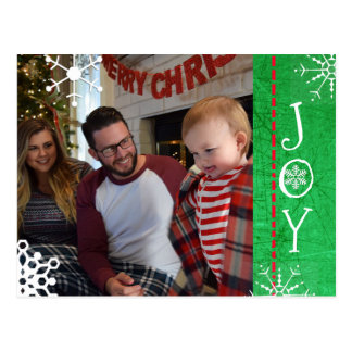 Personalised Photo Family Christmas Joy Green Postcard
