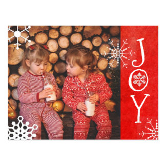 Personalised Photo Family Christmas Joy Red  Card