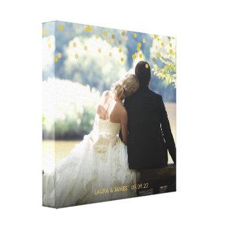 Personalised Photo Gold Confetti Canvas Print
