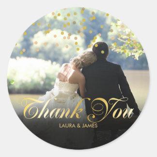 Personalised Photo Gold Confetti Script Thank You Round Sticker