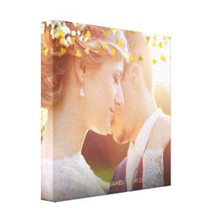 Personalised Photo Gold Hearts Confetti Canvas Print