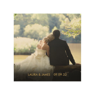 Personalised Photo Gold Text Wood Wall Decor
