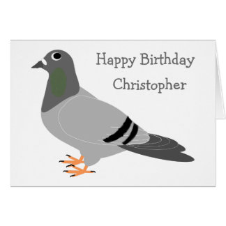 Personalised Pigeon Design Birthday Card
