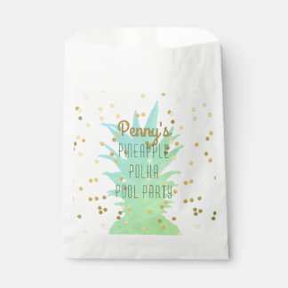 Personalised Pineapple Polka Pool Party Favour Bag Favour Bags